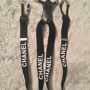 CHANEL Black / White Suspenders